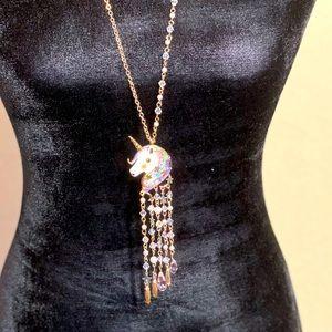 Betsey Johnson Gold Tone Enamel Unicorn Necklace